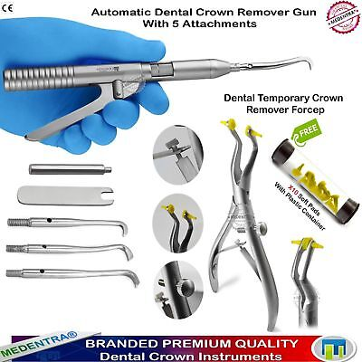 Dental Crown Remover Automatic Gun+Five Attachments Forceps Removal Restorations