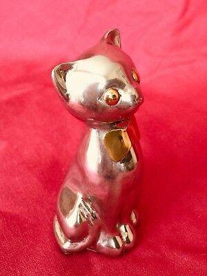 Cute Chrome Cat Paperweight/Ornament With Brass Coloured Dickie Bow And Eyes.