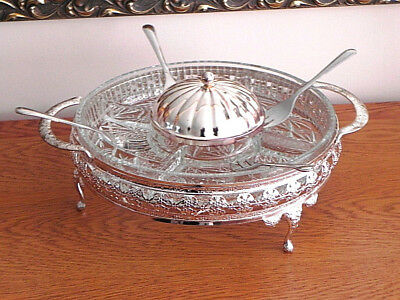 Vintage Queen Anne Style Glass Hors Douvres/Nibbles Dish, Silver Plate Stand