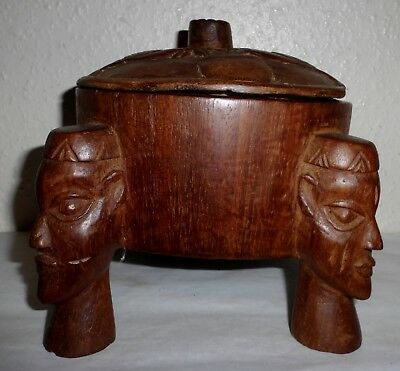 Vintage Unusual Rare African  Wooden Hand Carved Lidded 3 Legged Pot Box (W4)