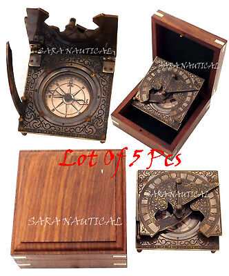 Lot Of 5 Pcs Antique Solid Brass Sundial Compass with Hardwood Wooden Box
