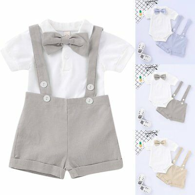 345859e73 BABY BOY WEDDING Formal Suit Bowtie Gentleman Romper Pants Outfit ...