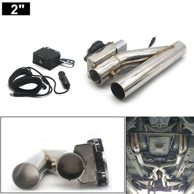 """2"""" Motorized Electric Exhaust Downpipe Cutoff Bypass Valve Cutout + Remote Kit"""