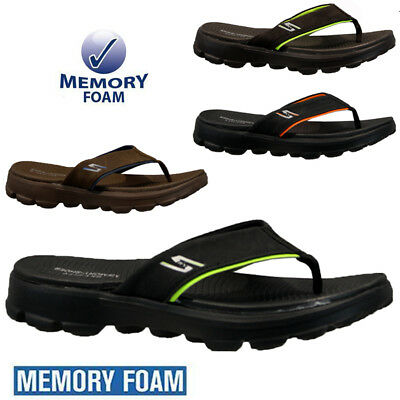 Mens Memory Foam Sports Beach Holiday Gym Shower Flip Flops Mules Sandals Size