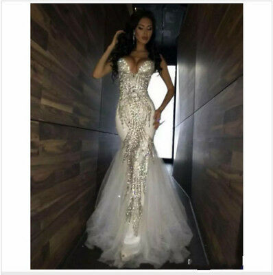 Gorgeous Womens Mermaid Strapless Beaded Sparkly Wedding Dress Bridal Gowns Sexy