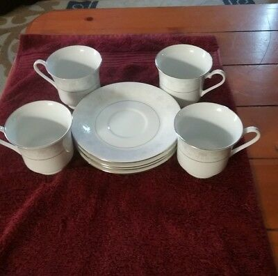 4 Sea Gull Fine China Jian Shiang Coffee Cup & Saucers Silver Ring Floral Design