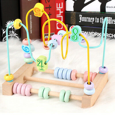 Wooden Counting Circles Bead Abacus Educational Wire Maze Wooden Play Toys one
