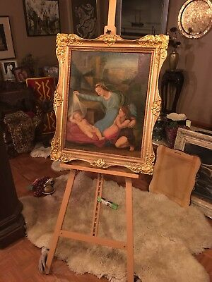 Fine Art .Oil On Canvis Painting Of Madona And Child framed.