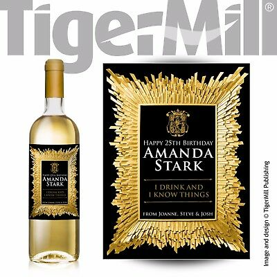 Game of Thrones themed PERSONALISED gold wine label Birthday any occasion gift