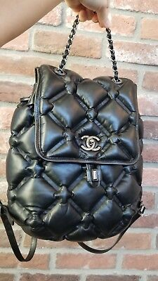 a4b8f85074b1fc Authentic CHANEL Chesterfield BACKPACK Quilted bubble Calfskin Medium