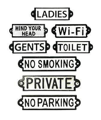 Cast Iron Wall Door Signs Notice Plate Plaque N-S-Wi-Fi-Toilets-Ladies-Gents