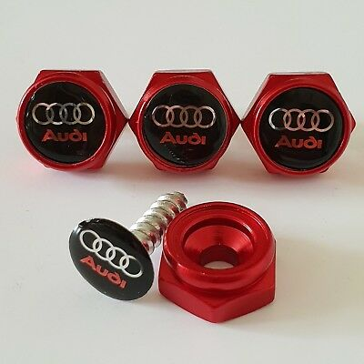 AUDI BLACK License plate screws Frame Bolt Cap Cover Emblem Universal RED