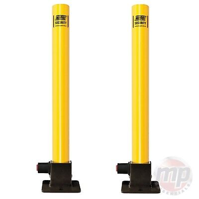 2 x Maypole Yellow Robust Folding Driveway Parking Security Post + Integral Lock