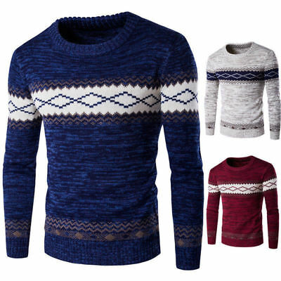 Fashion Men Sweater Knit Casual New Neck Round Coat Jumper Pullover Knitwear Top