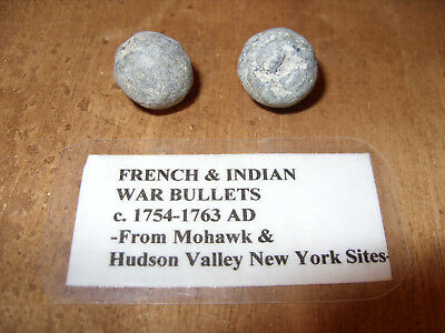 French and Indian War Musket Balls - x2 - New York - Mohawk & Hudson NY - 1750s
