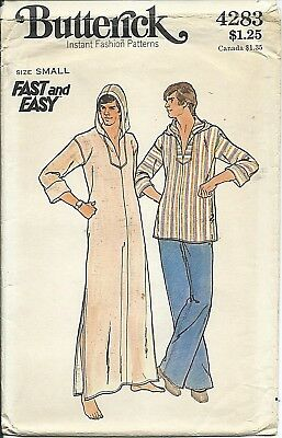 "B 4283 sewing pattern 70's A-line CAFTAN Hooded TOP sew man's chest 34-36"" UNCUT"