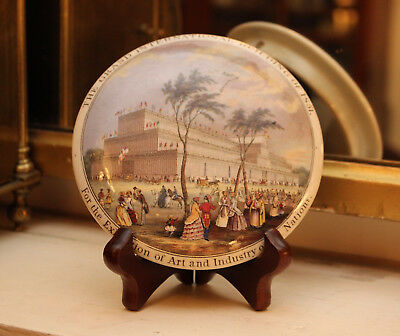 A Rare c19th Antique Prattware Pot Lid, Great Exhibition 1851