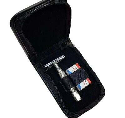 Single Faux Zip up Leather Safety Razor Travel Case by Windrose