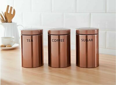 Set of 3 Stainless Steel Copper Tea Sugar Coffee Canisters Kitchen Storage