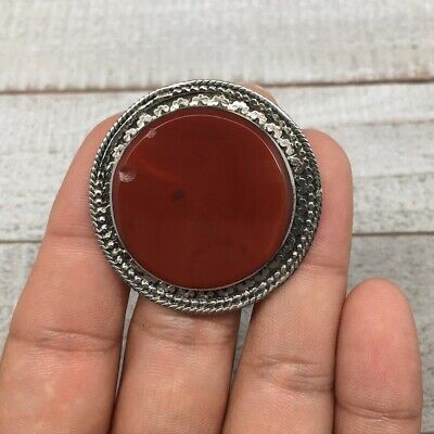 Unique Afghan Turkmen Ring Tribal Round Carnelian Boho Statement Kuchi Ring,TR53