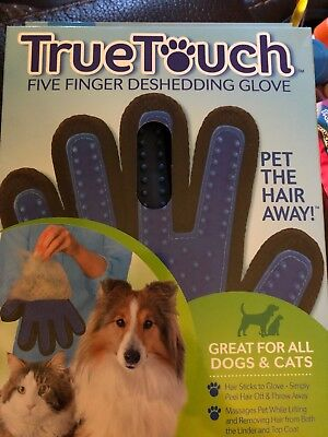 True Touch Pet Deshedding Glove Dog Cat Hair Removal Massage Brush As Seen on TV