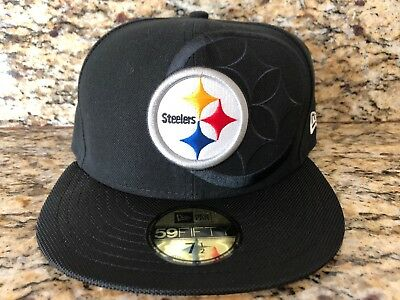 huge discount 4edfb 4c10d PITTSBURGH STEELERS NEW ERA 59FIFTY NFL 2016 ON FIELD BLACK FITTED HAT Sz 7  1