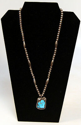 """Navajo Morenci Turquoise and Silver Necklace c.1970s 23"""" long - 1 1/4"""" Pendant"""