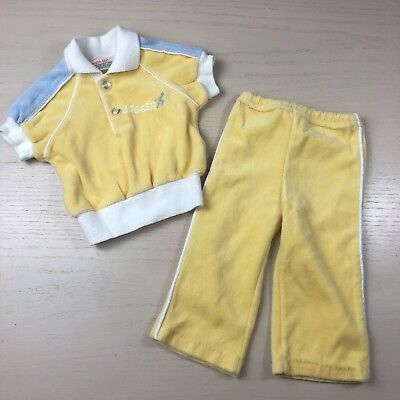 Vintage Healthtex Baby Boy Velour Tracksuit 6 Months Yellow Jogger Outfit