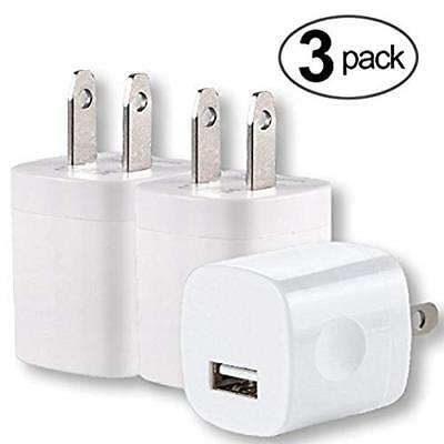 Brick USB Charger - 3Pack Fast Wall Cube Cell Phone AC Travel Home Office Blo...