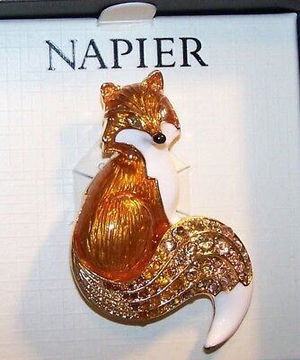 Rhinestone Enamel Fox Pin Brooch-Gold Tone-Signed Napier