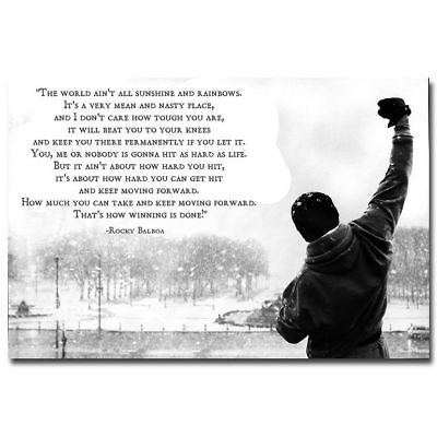 Rocky Balboa Poster Motivational Movie Quotes Art Silk Poster 8x12 24x36 24x43