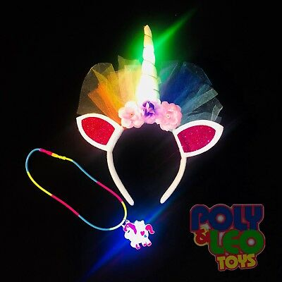 Light Up Unicorn Headband and Necklace Girls Party Supplies Hair Accessories