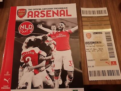 Arsenal Tottenham Spurs 2018 Carabao Cup MINT Programme & Ticket 19/12/2018