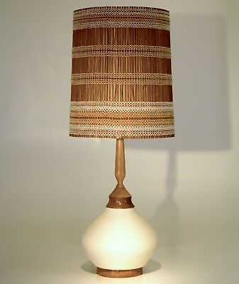 Very Large Ceramic Table Lamp with Rope Nautical Motif Mid-Century Modern raymor
