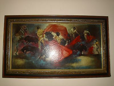 """ANTIQUE VTG LARGE VICTORIAN PICTURE FRAME WOOD WITH GESSO 4 level, 59""""x 33"""""""