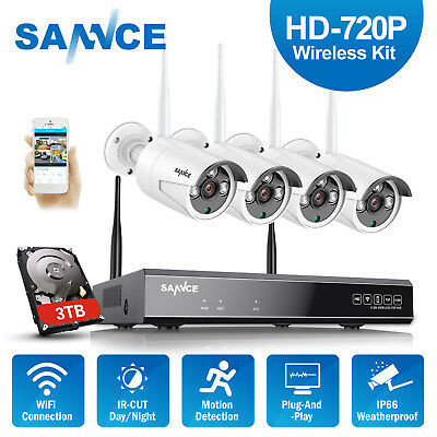 SANNCE Wireless Security System 1080P 4CH 3TB NVR 4x 720P WIFI IP Camera IR CUT