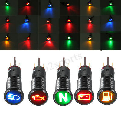 12/24V 10MM Metal LED Dashboard Warning Light Pilot Car Van Panel Indicator Lamp