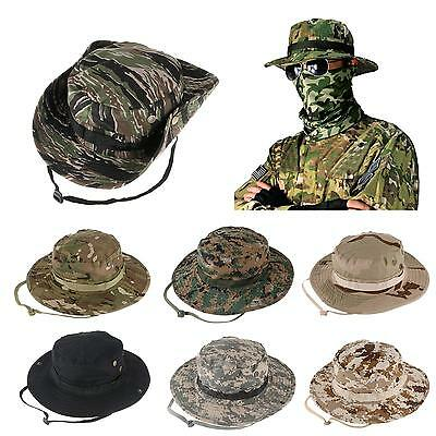 Bucket Hat Wide Brim Military Hats Sun Hat Boonie Hunting Fishing Outdoor  Cap 2bad7bcd32dc