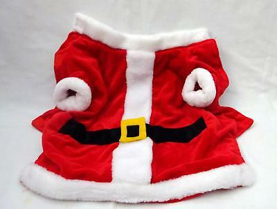 pre-owned Polyester SANTA CLAUS Costume Hook & Loop Closure Dog Coat sz Large