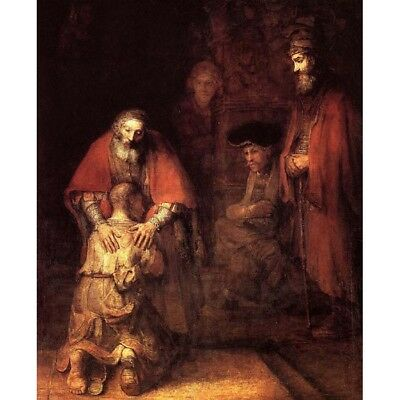 Canvas Painted Oil Painting Wall Decor Rembrandt Return Of the Prodigal Son #534
