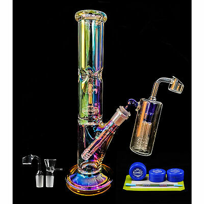 Glass Water Cup Pipe Hookah Bottle Bubbler 13.2'' Shisha Smoking Bongs Hookah