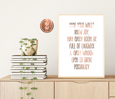 Family Print / Copper foil poster / May your walls know joy / unframed prints