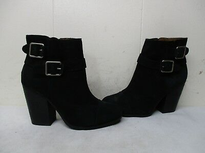 413187f135a7 Lucky Brand LAUREEN Black Suede Leather Zip High Heel Ankle Boots Size 6 M