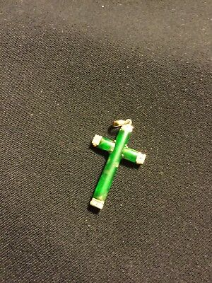 14K Yellow Gold and Jade Cross Pendant with Six Small Diamonds