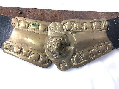 Antique Turkish Ottoman Balkan Leather Bronze Lions Head Belt Buckle 19th centur