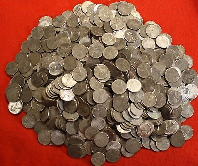 1943-Pds Steel Lincoln Wheat Cent Penny 250 Coin (5 Rolls) G-Xf Collector Coins