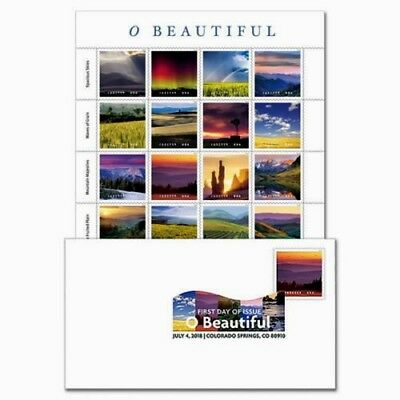 Us Nature Beauty Scott #5298  O Beautiful 20 Mxf Forever Stamp Sheet + Dcp Fd Cv