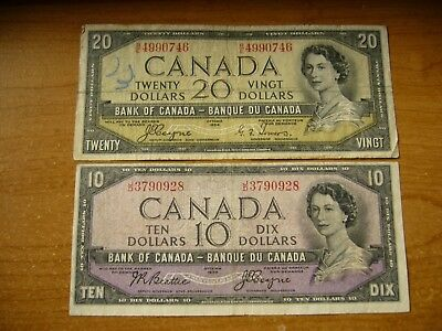 1954 Canada $20 & $10 Devils Face Banknote Lot