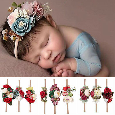 3Pcs Baby Girl Elastic Flower Headband Garland Hair Band Wreath Photograph UK
