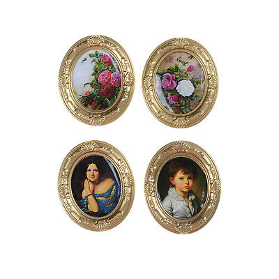 Miniature Dollhouse Framed Wall Painting 1:12 Scale Doll House Accessories &P